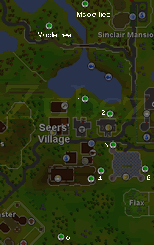 Zybez RuneScape Help's Map of Rare Tree Locations around Seers Village