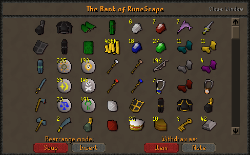 Bank Organization - Runescape Miscellaneous Guides - Old