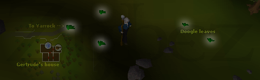 Zybez RuneScape Help's Screenshot of the Location of Doogle Leaves