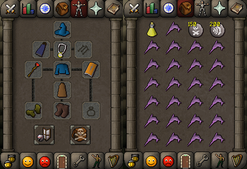 Zybez RuneScape Help's Screenshot of F2P Magic Equipment and Inventory