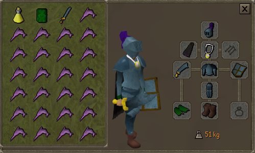 Zybez RuneScape Help's Screenshot of F2P Melee Equipment and Inventory