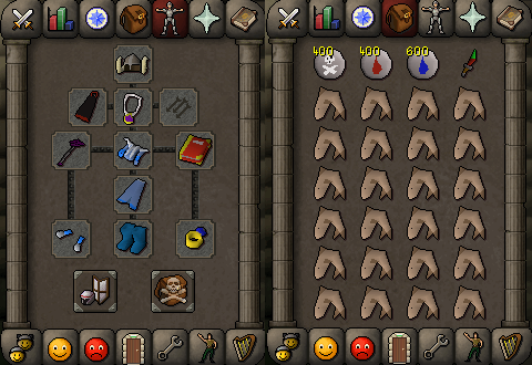 Zybez RuneScape Help's Screenshot of P2P Magic Equipment and Inventory