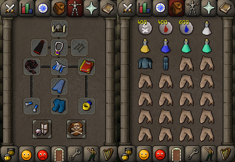 Zybez RuneScape Help's Screenshot of Single Ancient Magick and Melee Inventory and Equipments