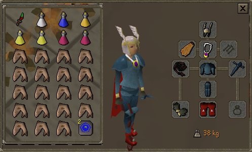 Zybez RuneScape Help's Screenshot of P2P Melee Equipment and Inventory