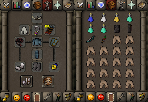 Zybez RuneScape Help's Screenshot of P2P Single Melee Equipment and Inventory