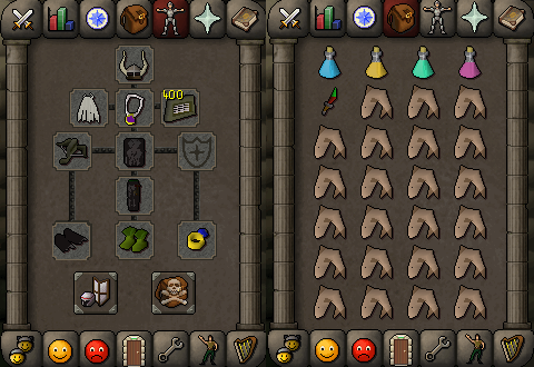Zybez RuneScape Help's Screenshot of P2P Ranged Equipment and Inventory