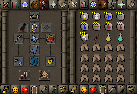Zybez RuneScape Help's Screenshot of P2P Single Magic Equipment and Inventory