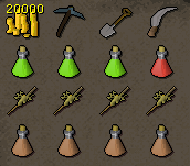 Zybez RuneScape Help's Recommended Inventory For Tai Bwo Wannai Clean Up