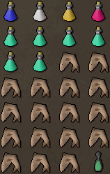 Zybez RuneScape Help's Screenshot of Suggested Melee Inventory for Dagannoth Fighting