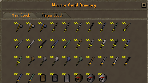 Zybez Runescape Helps' Image of the Warriors' Guild armoury