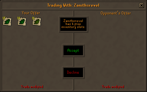 Zybez RuneScape Help's Screenshot of Not Recommended Unidentified Herb Trade